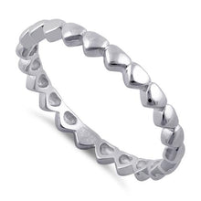 Load image into Gallery viewer, Sterling Silver Tiny Hearts Eternity Ring