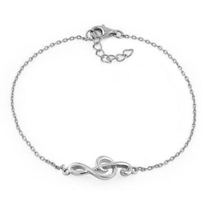 Sterling Silver Treble Clef Music Note Bracelet