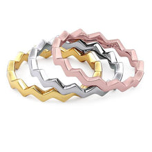 Load image into Gallery viewer, Sterling Silver Tri-Color Zig Zag Stackable Ring