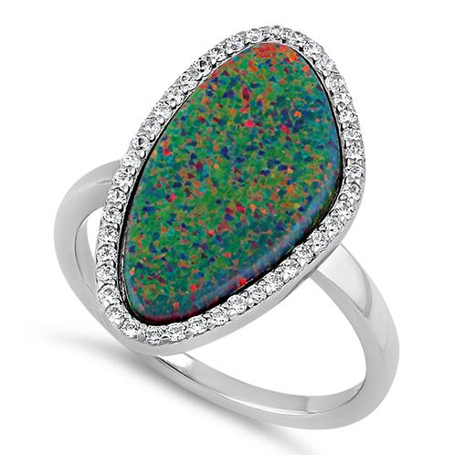 Sterling Silver Tri-Oval Black Lab Opal CZ Ring