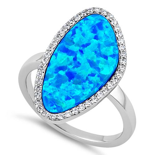 Sterling Silver Tri-Oval Blue Lab Opal CZ Ring