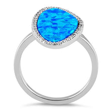 Load image into Gallery viewer, Sterling Silver Tri-Oval Blue Lab Opal CZ Ring