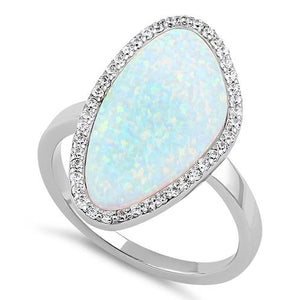 Sterling Silver Tri-Oval White Lab Opal CZ Ring