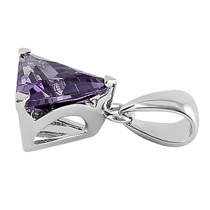 Sterling Silver Triangle Amethyst CZ Pendant