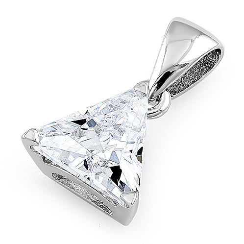 Sterling Silver Triangle Clear CZ Pendant