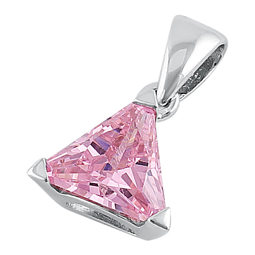Sterling Silver Triangle Pink Pendant