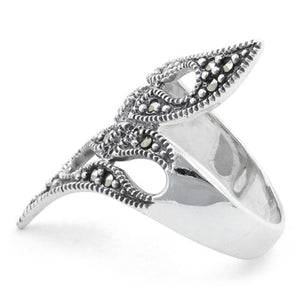 Sterling Silver Tribal Marcasite Ring