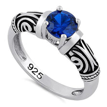 Load image into Gallery viewer, Sterling Silver Tribal Round Cut Blue Spinel CZ Ring