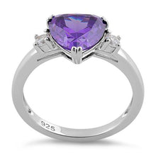 Load image into Gallery viewer, Sterling Silver Trillion Cut Amethyst CZ Ring