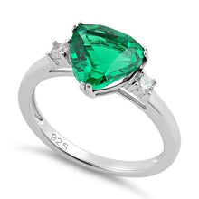 Load image into Gallery viewer, Sterling Silver Trillion Cut Emerald CZ Ring
