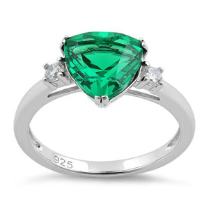 Sterling Silver Trillion Cut Emerald CZ Ring