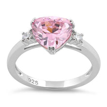 Load image into Gallery viewer, Sterling Silver Trillion Cut Pink CZ Ring