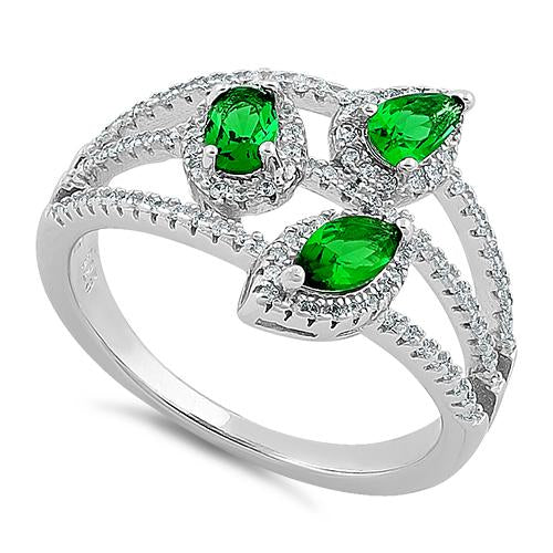 Sterling Silver Trinity Marquise & Round Cut Clear & Emerald CZ Ring