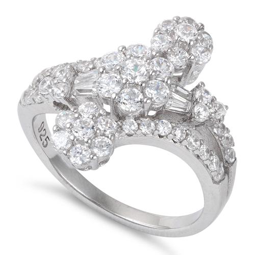 Sterling Silver Triple Flower Design CZ Ring