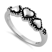 Load image into Gallery viewer, Sterling Silver Triple Heart Ring