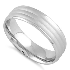 Sterling Silver Triple Layer Brushed Wedding Band Ring