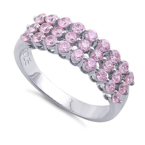 Sterling Silver Triple Row Pink CZ Ring