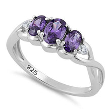 Load image into Gallery viewer, Sterling Silver Triple Oval Amethyst CZ Ring
