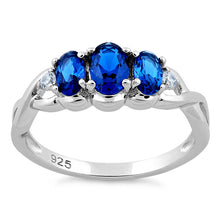 Load image into Gallery viewer, Sterling Silver Triple Oval Blue Sapphire CZ Ring