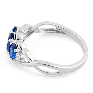 Sterling Silver Triple Oval Blue Sapphire CZ Ring