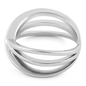 Sterling Silver Triple Overlapping Cage Ring