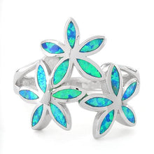 Load image into Gallery viewer, Sterling Silver Triple Plumeria Lab Opal Ring