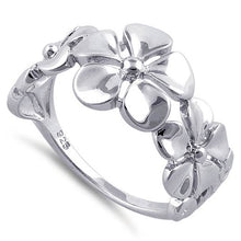 Load image into Gallery viewer, Sterling Silver Triple Plumeria Ring