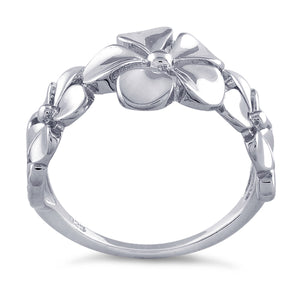 Sterling Silver Triple Plumeria Ring