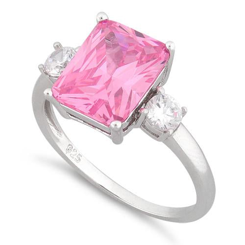 Sterling Silver Triple Rectangular Pink CZ Ring