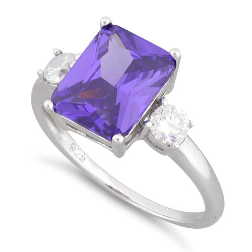 Sterling Silver Triple Rectangular Purple CZ Ring