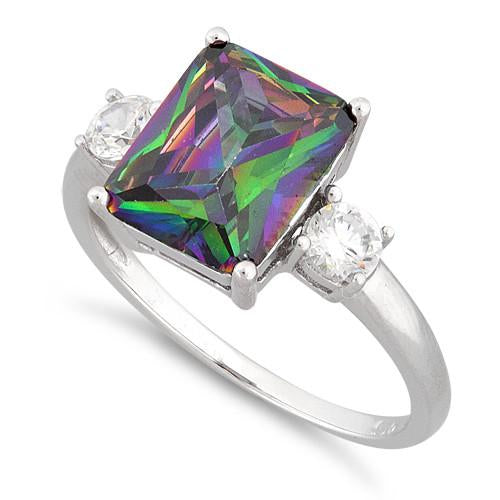 Sterling Silver Triple Rectangular Rainbow Topaz CZ Ring