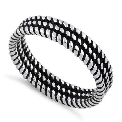 Sterling Silver Triple Rope Stackable Ring