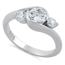 Load image into Gallery viewer, Sterling Silver Triple Round Cut Clear CZ Ring