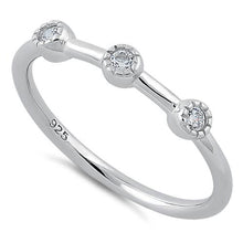 Load image into Gallery viewer, Sterling Silver Triple Round Cut CZ Ring