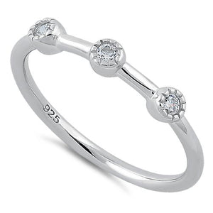 Sterling Silver Triple Round Cut CZ Ring