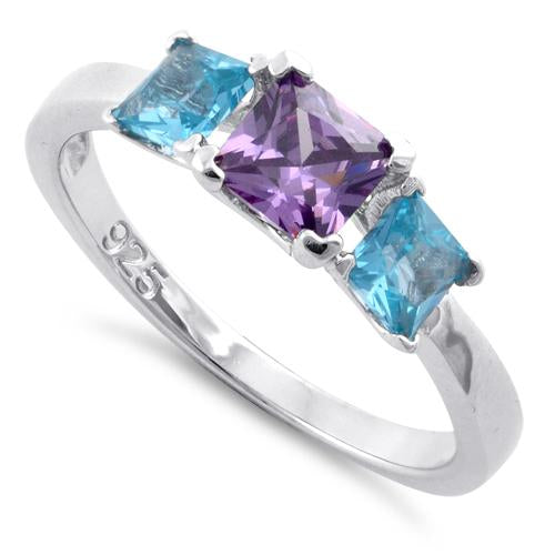 Sterling Silver Triple Square Amethyst & Blue Topaz CZ Ring