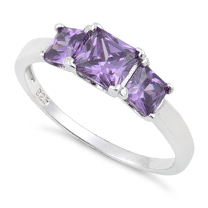 Sterling Silver Triple Square Amethyst CZ Ring
