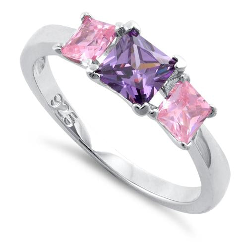 Sterling Silver Triple Square Amethyst & Pink CZ Ring