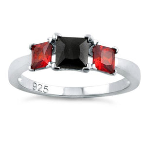 Sterling Silver Triple Square Black & Garnet CZ Ring