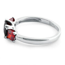 Load image into Gallery viewer, Sterling Silver Triple Square Black & Garnet CZ Ring