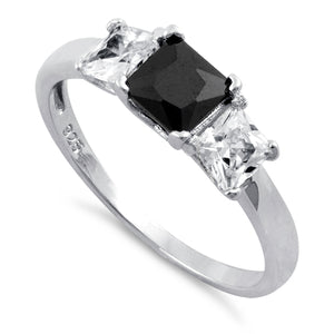 Sterling Silver Triple Square Center Black CZ Ring