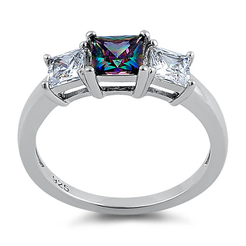 Sterling Silver Triple Square Center Rainbow Topaz CZ Ring