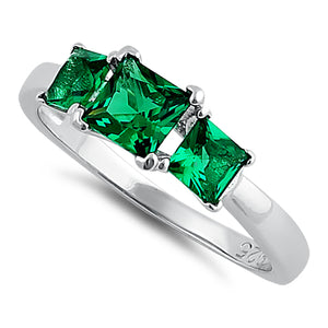 Sterling Silver Triple Square Emerald CZ Ring