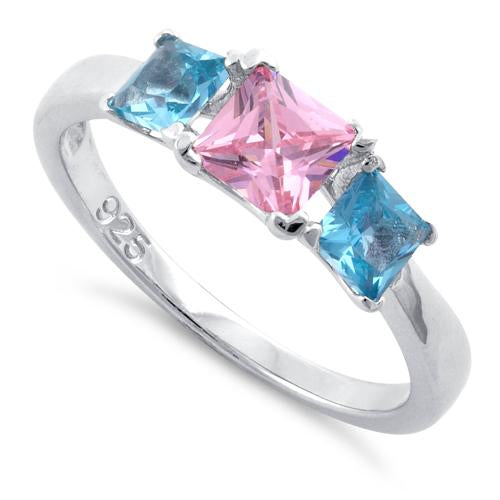 Sterling Silver Triple Square Pink & Blue Topaz CZ Ring