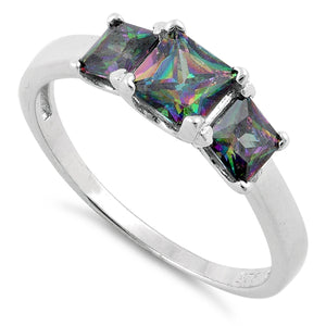 Sterling Silver Triple Square Rainbow Topaz CZ Ring