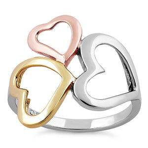Sterling Silver Triple Three Tone Heart Ring