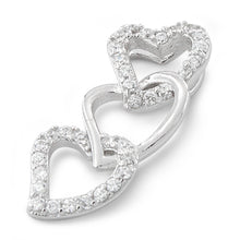 Load image into Gallery viewer, Sterling Silver Triple Heart CZ Pendant