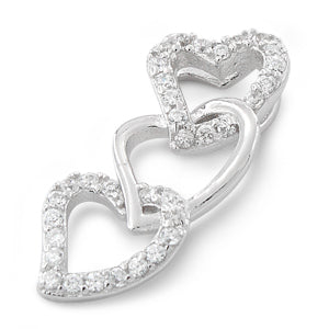 Sterling Silver Triple Heart CZ Pendant