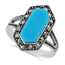 Load image into Gallery viewer, Sterling Silver Turquoise Diamond Shaped Marcasite Ring