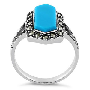 Sterling Silver Turquoise Diamond Shaped Marcasite Ring